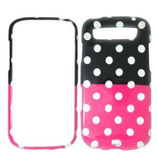 Samsung Galaxy S Blaze T769 T Mobile   White Polka Dots on Hot Pink on Black Shinny Gloss Finish Hard Plastic Cover, Case, Easy Snap On, Faceplate. Cell Phones & Accessories