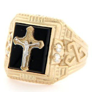 10k Solid Yellow Gold Onyx Crucifix Jesus CZ Mens Ring Jewelry