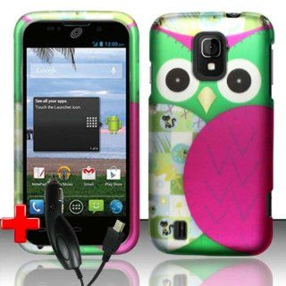 ZTE Majesty Z796c (StraightTalk) 2 Piece Snap On Rubberized Image Case Cover, Pink/Green Cute Cartoon Owl Design + CAR CHARGER Cell Phones & Accessories