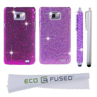 Samsung Galaxy S2 Case Bundle including 2 Glitter Cases / 1 Bling Stylus / 1 Long Stylus / 1 ECO FUSED® Microfiber Cleaning Cloth (Compatible with Samsung Galaxy S2 GT I9100 (International Version) and AT&T SGH I777 ONLY) (Purple/Light Purple) Cel