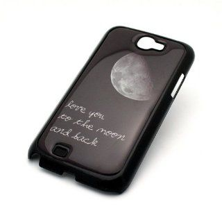 BLACK Snap On Case SAMSUNG GALAXY NOTE 2 II GT N7100 Plastic Cover   I LOVE YOU TO THE MOON AND BACK crescent howling wolf twilght love Cell Phones & Accessories