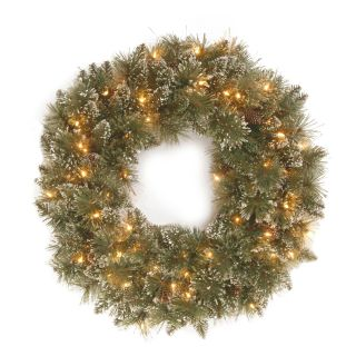 30 in. Glittery Bristle Pine Pre Lit Christmas Wreath with White Tipped Pine Cones   Christmas Wreaths