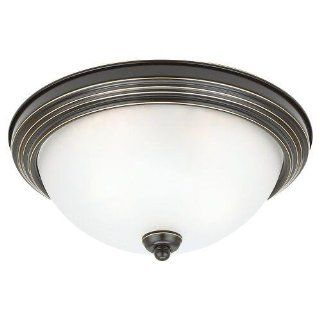 Sea Gull Lighting 79364BLE 782 Flush Mount with Satin Etched�Glass Shades, Heirloom Bronze Finish   Flush Mount Ceiling Light Fixtures