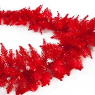 Red Ashley Pre lit 9 ft. Garland   Christmas Garland