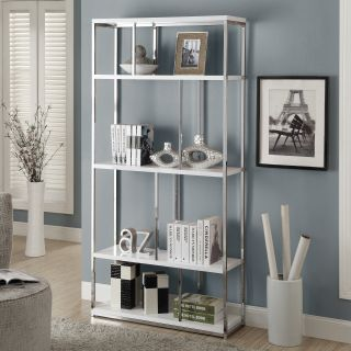 Monarch 72 in. Metal Bookcase   Glossy White / Chrome   Bookcases