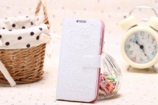 2013 New Arrival cat pattern Leather Wallet Case Flip Cover Card Holder Folding Stand for Samsung Galaxy S4 i9500 + Wire Cord Wrap (White) Cell Phones & Accessories