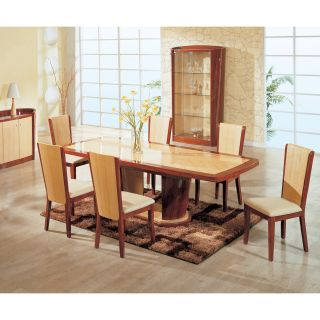 Global Furniture Gabriella 7 piece Two Tone Cherry & Natural Dining Set   Dining Table Sets