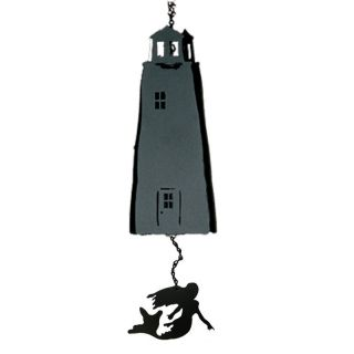 North Country Wind Bells Sentinel Lighthouse™ Black with Mermaid Multi Tones   3 Sided   Wind Chimes