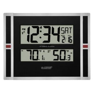 La Crosse Technology Digital Atomic Wall Clock with Indoor Outdoor Temperature   Weather Stations