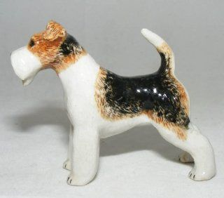 WIRE HAIR FOX TERRIER DOG Stands New MINIATURE Figurine Porcelain KLIMA L791B   Collectible Figurines