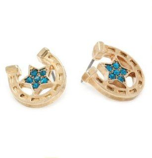 "Betsey Johnson Dazzling Crystals Glod plated""flights of Fancy"" Horse Shoe Stud Earrings  Other Products"