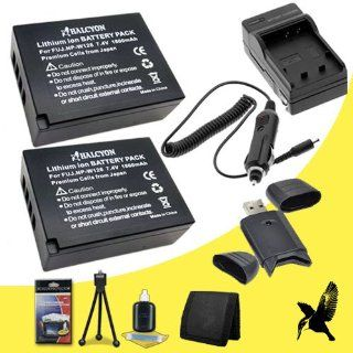 Two Halcyon 1800 mAH Lithium Ion Replacement NP W126 Battery and Charger Kit + Memory Card Wallet + SDHC Card USB Reader + Deluxe Starter Kit for Fujifilm X E1 Mirrorless Digital Camera and Fujifilm NP W126  Digital Slr Camera Bundles  Camera & Photo