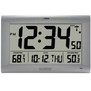 La Crosse Technology Atomic Digital Wall Clock with Indoor/Outdoor Temperature   Weather Stations