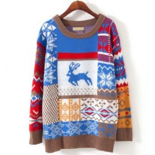 Women Girls Christmas Jubilant Deer Tree Sweater (Blue) Pullover Sweaters