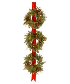 Decorative Collection Triple Wreath Door Hang with 3 18 in. Pre Lit Christmas Wreaths   Christmas Wreaths