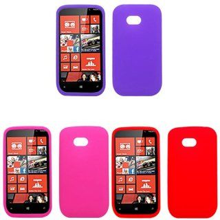 iFase Brand Nokia Lumia 822 Combo Solid Red Silicon Skin Case Faceplate Cover + Solid Purple Silicon Skin Case Faceplate Cover + Solid Hot Pink Silicon Skin Case Faceplate Cover for Nokia Lumia 822 Cell Phones & Accessories