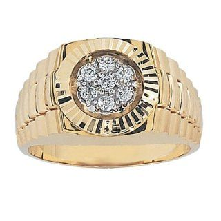 Men's 14k Yellow Gold with High Polished Finish Diamond Cluster Ring (0.25 cttw, H I Color, I1 I2 Clarity) Jewelry