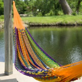 XXL Hand Woven Multicolored Thick String Hammock   Hammocks