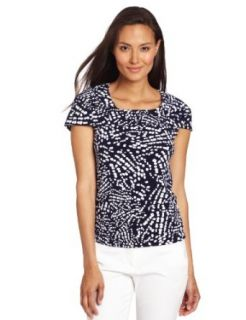 Anne Klein Women's Abstract Dot Print Shell, New Marine Multi, Large Fashion T Shirts