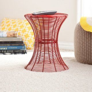 Contemporary Metal Wire Accent Table for Indoor and Outdoor, Red   End Tables