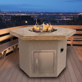 Cal Flame Stucco and Tile Dining Height Hexagon Gas Fire Pit   Fire Pits