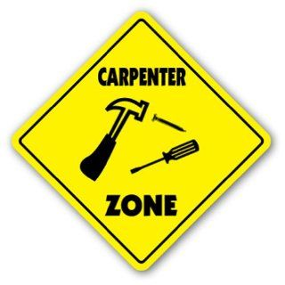 CARPENTER ZONE Sign xing gift novelty hammer build house nails board wood  Street Signs  Patio, Lawn & Garden