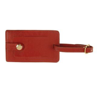 Royce Leather Snap Luggage Tag   Red   Travel Accessories