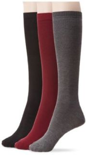 Nine West Women's Solid Flat Knit Knee High 3 Pair Sock, Bordeaux/Heather Charcoal/Black, Size 9 11 Dress Socks