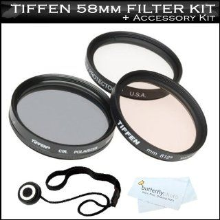 Tiffen 58mm Filter Kit For Canon Digital EOS Rebel T3i, T3, T1i, T2i, XS, XSi DSLR Cameras Which Use (18 55mm, 75 300mm, 50mm 1.4, 55 200mm) Canon Lenses Includes Tiffen 58mm 3PC Filter Kit (UV, CPL, 812 Warming Filter) +Lens Cap keeper +MicroFiber Cloth