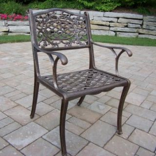 Oakland Living Mississippi Cast Aluminum Arm Chair   Antique Bronze   Outdoor Dining Chairs