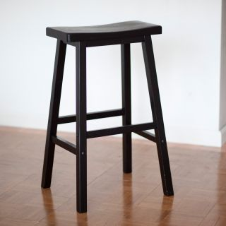 Winsome Wood 29 Inch RTA Single Saddle Seat Bar Stool   Black   Bistro Chairs