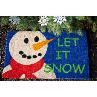 Let It Snow 18 x 30 Hand Woven Coir Doormat   Outdoor Doormats
