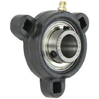 "Hub City FB150URX3/4 Flange Block Mounted Bearing, 3 Bolt, Light Duty, Relube, Setscrew Locking Collar, Narrow Inner Race, Ductile Housing, 3/4"" Bore, 1.35"" Length Through Bore, 2.815"" Mounting Hole Spacing"