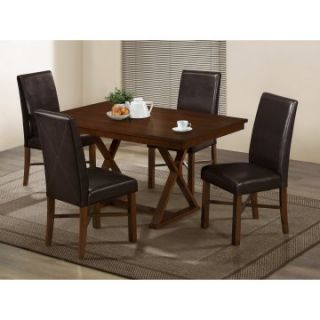 Monarch Modern Oak & Brown Faux Leather Dining Chairs   Set of 2   Dining Chairs