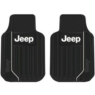 Jeep Elite Style 2pc Front Black Rubber Universal Car Truck Floor Mats Set Automotive