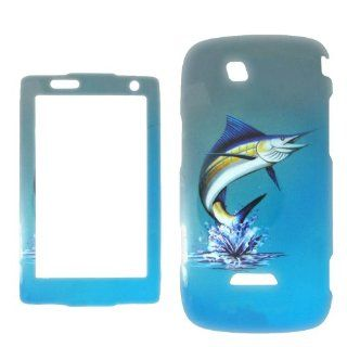 Samsung Sidekick 4G T839 T Mobile   Marlin Fish on Two Tone Blue and White Realtree camo Shinny Gloss Finish Hard Plastic Cover, Case, Easy Snap On, Faceplate. Cell Phones & Accessories