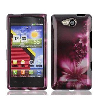 LG Lucid 4G 4 G VS840 VS 840 Rose Red Floral Flowers Design Snap On Hard Protective Cover Case Cell Phone Cell Phones & Accessories
