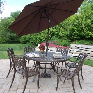 Oakland Living Mississippi Cast Aluminum 60 in. Patio Dining Set with Tilting Umbrella and Stand   Patio Dining Sets