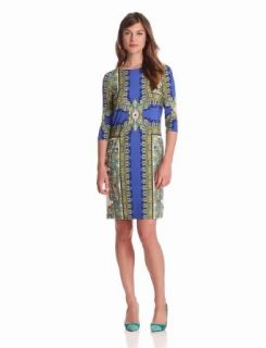 London Times Women's Matte Jersey Printed Dress, Blue, 8