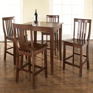 Crosley 5 Piece Pub High Dining Set with Cabriole Leg and School House Stools   Indoor Bistro Sets