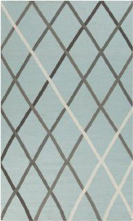 2' x 3' Muro Fantasia Sky Blue & Gray Reversible Hand Woven Wool Area Throw Rug   Handmade Rugs