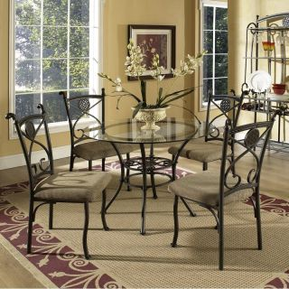 Steve Silver Brookfield 5 Piece Glass Top Dining Table Set Only   Dining Table Sets