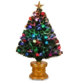 National Tree 36 Inch Fiber Optic Fireworks Red, Green, Blue and Gold Fiber Inner Ornament Tree with Top Star and Gold Revolving LED Base   Christmas Trees