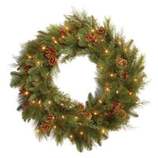 30 in. Decorative Collection Noble Mixed Pre Lit Battery Operated LED Wreath   Christmas Wreaths