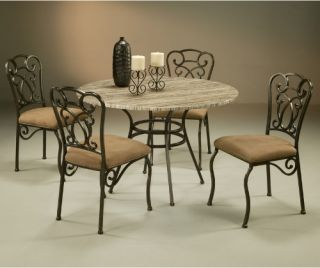Pastel Wilton 5 piece Poly Travertine Top Dining Table Set   Dining Table Sets