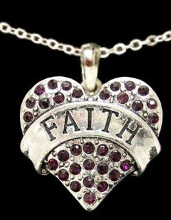 From the Heart Purple Crystal Rhinestone Heart Necklace with FAITH engraved across the center on 18 inch ChainRhinestones Sparkling  Perfect Gift for the Woman you Love Wonderful Easter, Valentines or Any Day Gift.  Sports Related Collectibles  Spor