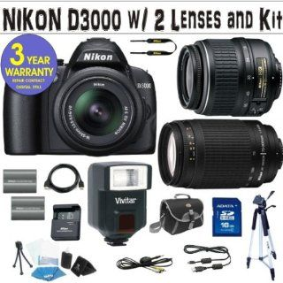 NIKON D3000 DIGITAL SLR CAMERA BODY + NIKON 18 55 VR LENS + NIKON 70 300 G ZOOM LENS + 16 GIG HIGH SPEED MEMORY CARD + 2 RECHARGEABLE BATTERIES + VIVITAR FULLY AUTOMATIC DEDICATED FLASH + 3 YEAR CELLTIME WARRANTY  Camera & Photo
