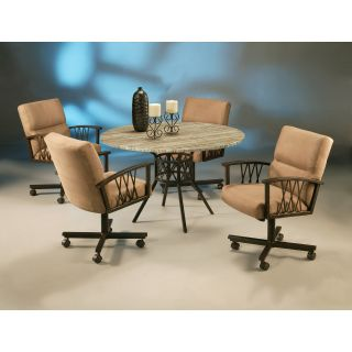 Pastel Ravenwood 5 piece Poly Travertine Top Dining Table Set   Dining Table Sets