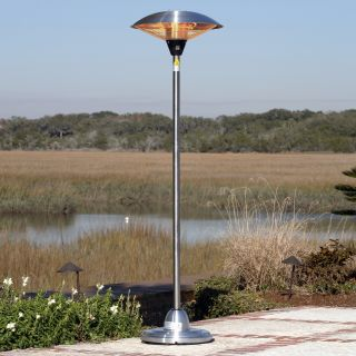 Fire Sense Stainless Steel Floor Standing Round Halogen Patio Heater   Electric Patio Heaters