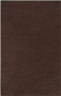 8' Round Bas Relief Maze Brown Wool Area Throw Rug